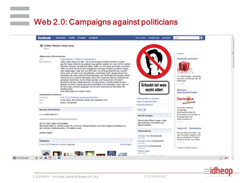 | ©IDHEAP – | | 30/04/2014 | Web 2.0: Campaigns against politicians