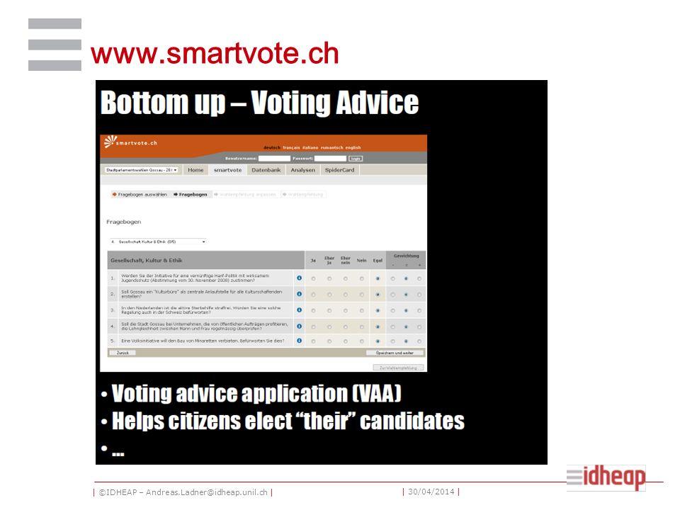 | ©IDHEAP – Andreas.Ladner@idheap.unil.ch | | 30/04/2014 | www.smartvote.ch