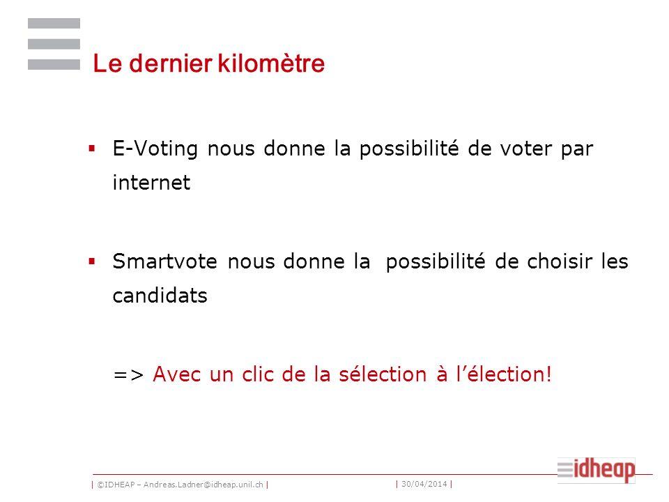 | ©IDHEAP – Andreas.Ladner@idheap.unil.ch | | 30/04/2014 | Le dernier kilomètre E-Voting nous donne la possibilité de voter par internet Smartvote nous donne la possibilité de choisir les candidats => Avec un clic de la sélection à lélection!