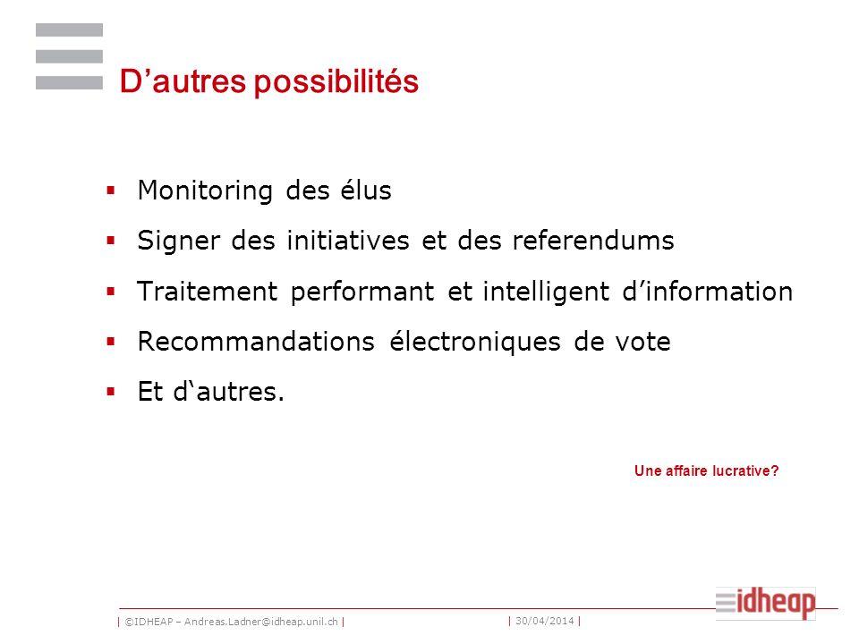 | ©IDHEAP – Andreas.Ladner@idheap.unil.ch | | 30/04/2014 | Dautres possibilités Monitoring des élus Signer des initiatives et des referendums Traiteme