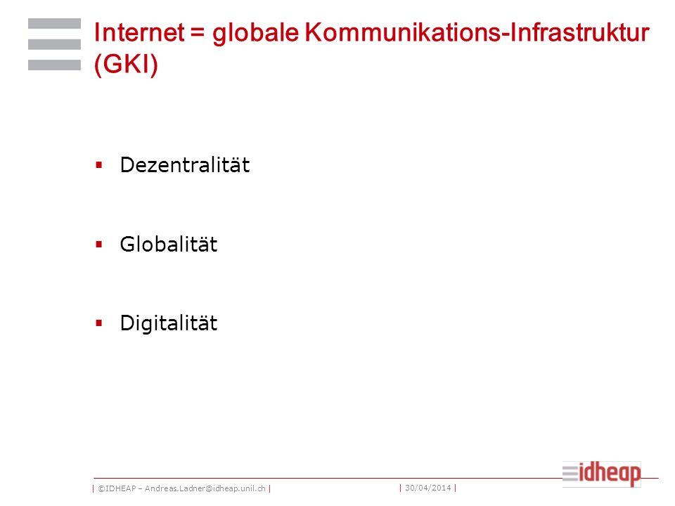 | ©IDHEAP – Andreas.Ladner@idheap.unil.ch | | 30/04/2014 | Internet = globale Kommunikations-Infrastruktur (GKI) Dezentralität Globalität Digitalität