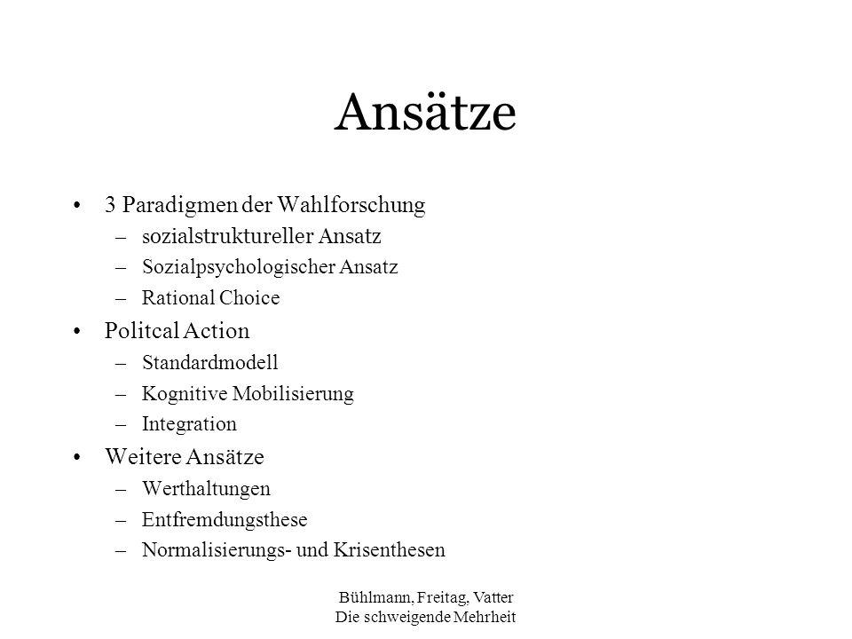 Bühlmann, Freitag, Vatter Die schweigende Mehrheit Ansätze 3 Paradigmen der Wahlforschung –s ozialstruktureller Ansatz –Sozialpsychologischer Ansatz –