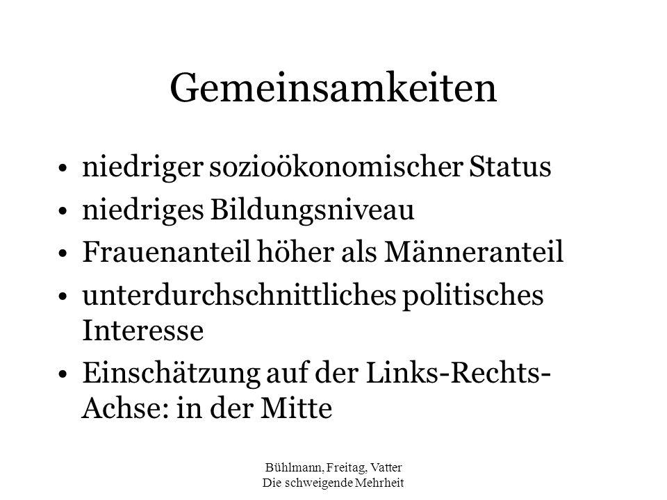 Bühlmann, Freitag, Vatter Die schweigende Mehrheit Gemeinsamkeiten niedriger sozioökonomischer Status niedriges Bildungsniveau Frauenanteil höher als