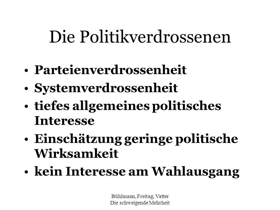 Bühlmann, Freitag, Vatter Die schweigende Mehrheit Die Politikverdrossenen Parteienverdrossenheit Systemverdrossenheit tiefes allgemeines politisches