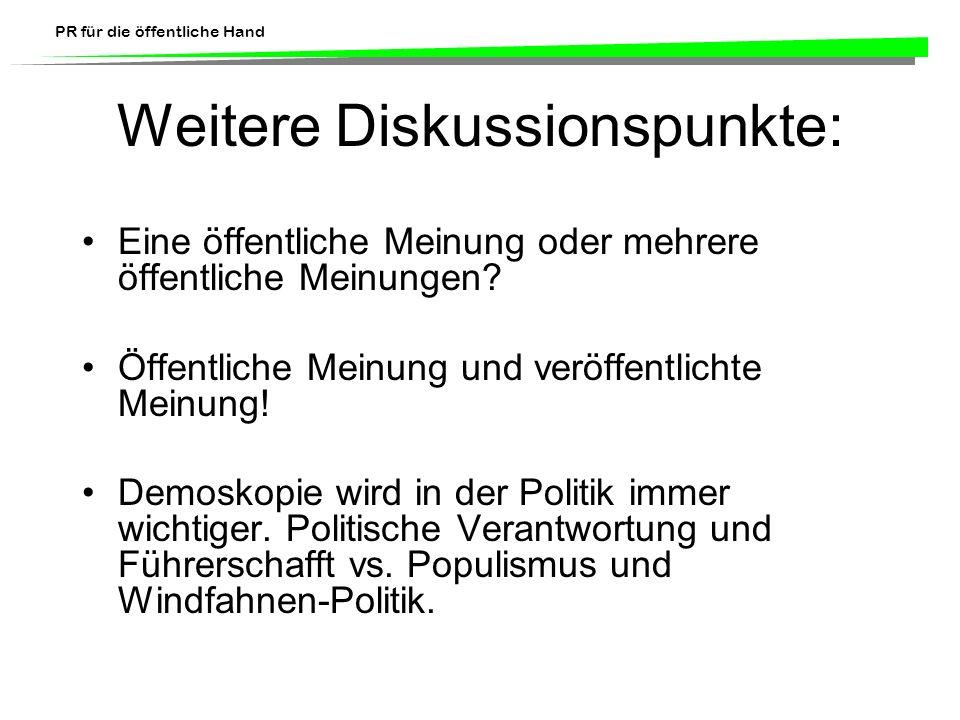 PR für die öffentliche Hand Weitere Diskussionspunkte: Eine öffentliche Meinung oder mehrere öffentliche Meinungen? Öffentliche Meinung und veröffentl