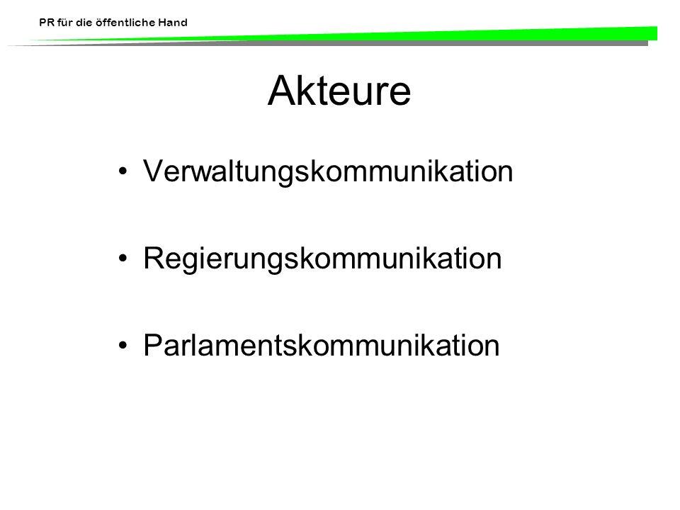PR für die öffentliche Hand Akteure Verwaltungskommunikation Regierungskommunikation Parlamentskommunikation