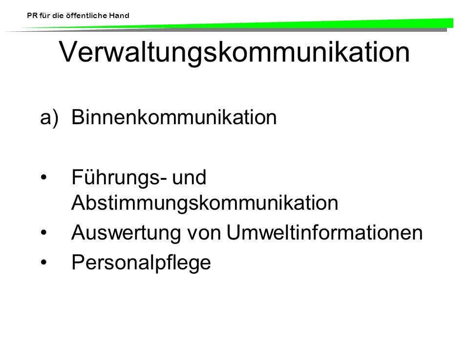 PR für die öffentliche Hand Verwaltungskommunikation a)Binnenkommunikation Führungs- und Abstimmungskommunikation Auswertung von Umweltinformationen P
