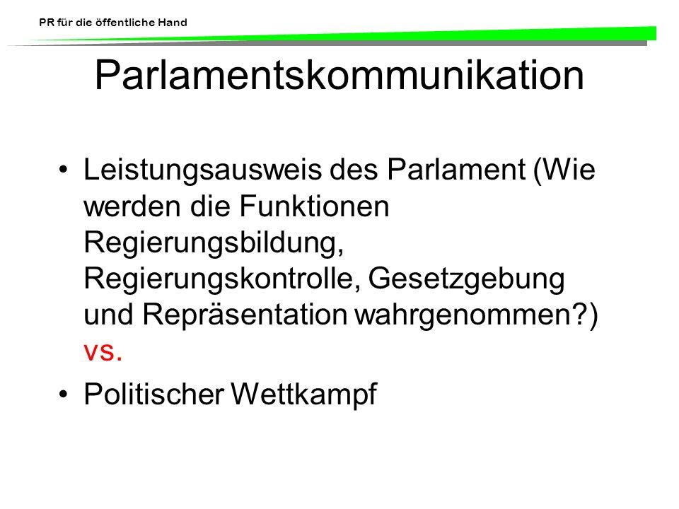 PR für die öffentliche Hand Parlamentskommunikation Leistungsausweis des Parlament (Wie werden die Funktionen Regierungsbildung, Regierungskontrolle,