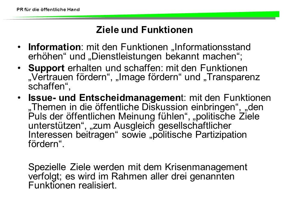 PR für die öffentliche Hand Ziele und Funktionen Information: mit den Funktionen Informationsstand erhöhen und Dienstleistungen bekannt machen; Suppor