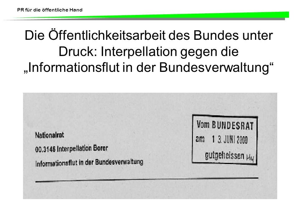 PR für die öffentliche Hand Die Öffentlichkeitsarbeit des Bundes unter Druck: Interpellation gegen die Informationsflut in der Bundesverwaltung