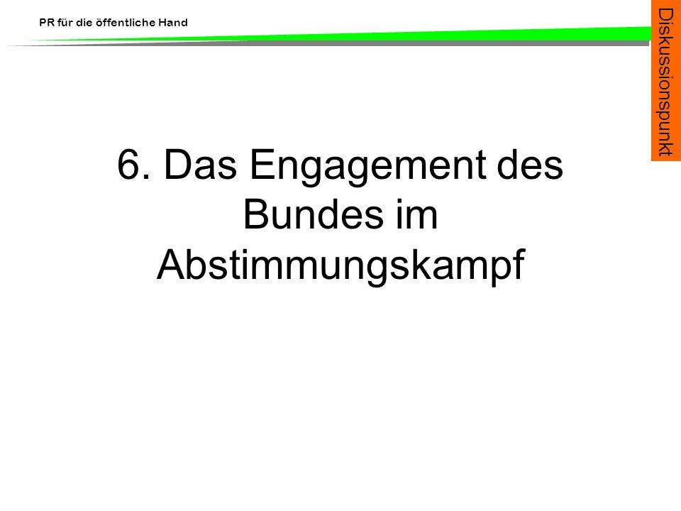 PR für die öffentliche Hand 6. Das Engagement des Bundes im Abstimmungskampf Diskussionspunkt