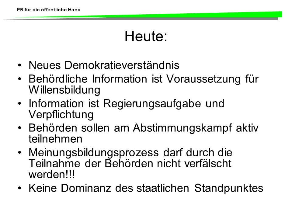 PR für die öffentliche Hand Heute: Neues Demokratieverständnis Behördliche Information ist Voraussetzung für Willensbildung Information ist Regierungs