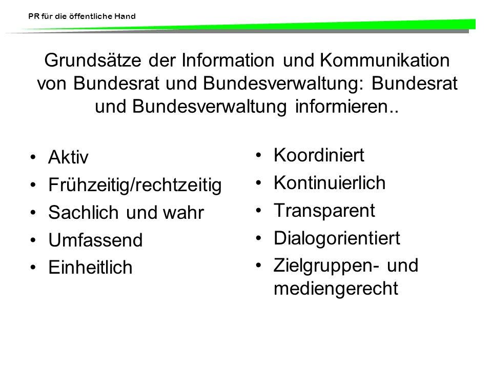 PR für die öffentliche Hand Grundsätze der Information und Kommunikation von Bundesrat und Bundesverwaltung: Bundesrat und Bundesverwaltung informiere