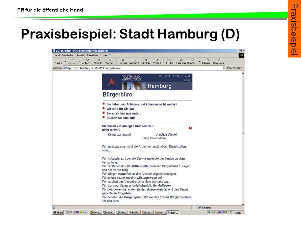 PR für die öffentliche Hand Praxisbeispiel: Stadt Hamburg (D) Praxisbeispiel
