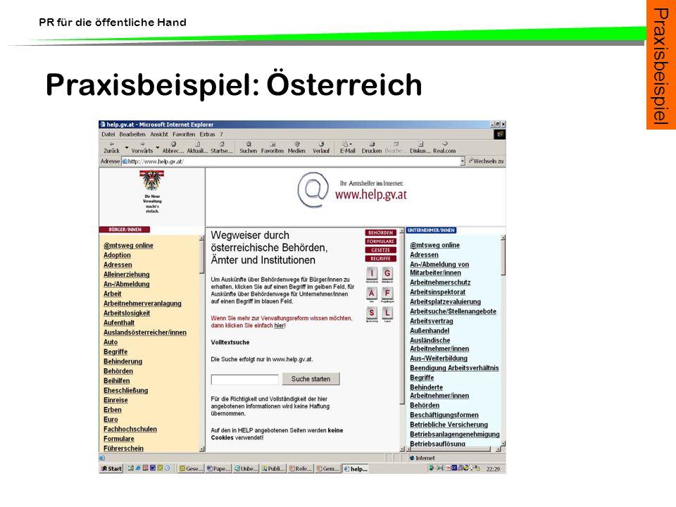 PR für die öffentliche Hand Praxisbeispiel: Österreich Praxisbeispiel