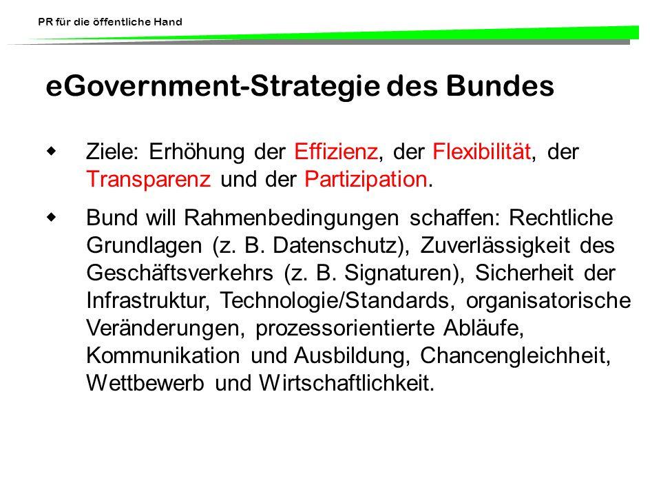 PR für die öffentliche Hand eGovernment-Strategie des Bundes Ziele: Erhöhung der Effizienz, der Flexibilität, der Transparenz und der Partizipation. B
