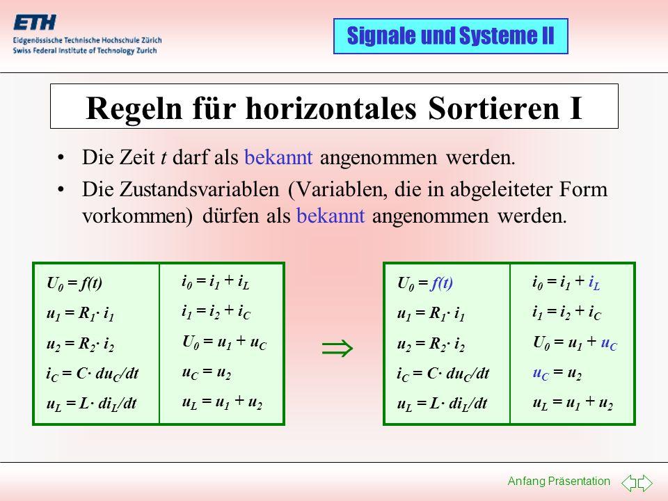 Anfang Präsentation Signale und Systeme II Regeln für horizontales Sortieren I Die Zeit t darf als bekannt angenommen werden. Die Zustandsvariablen (V
