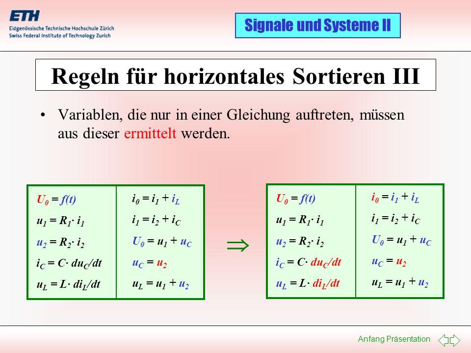 Anfang Präsentation Signale und Systeme II Regeln für horizontales Sortieren III Variablen, die nur in einer Gleichung auftreten, müssen aus dieser er