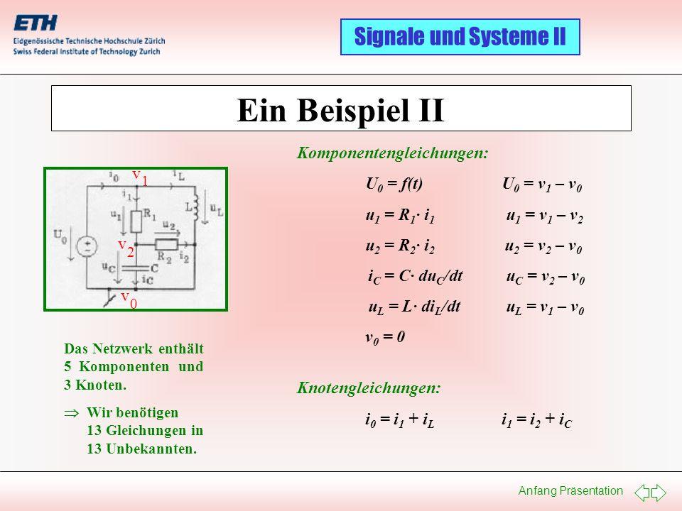 Anfang Präsentation Signale und Systeme II Ein Beispiel II v 1 v 2 v 0 Das Netzwerk enthält 5 Komponenten und 3 Knoten. Wir benötigen 13 Gleichungen i