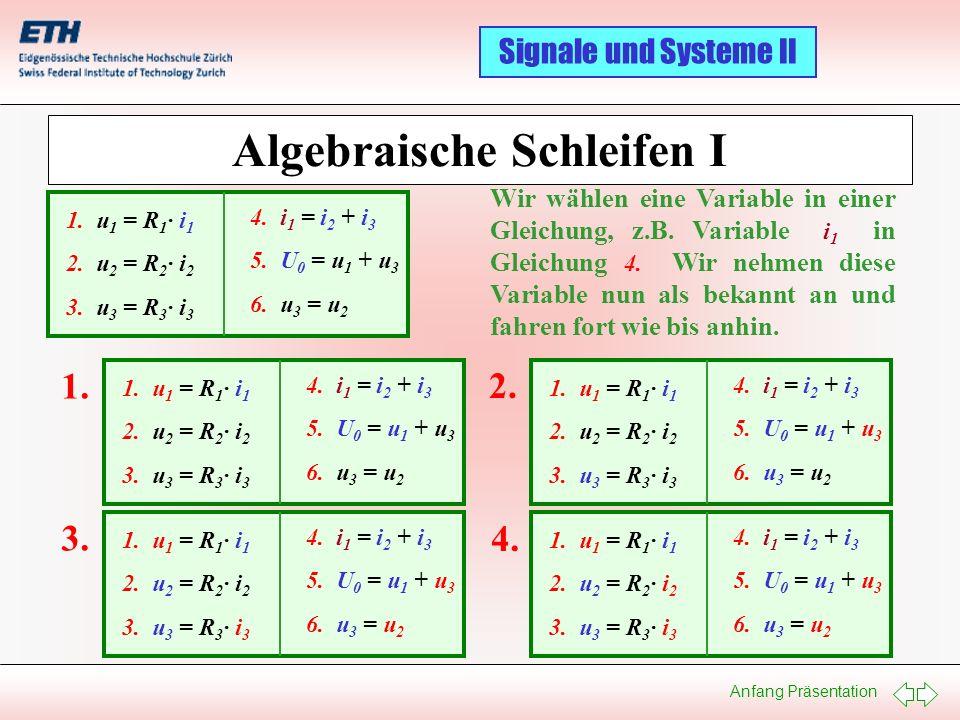 Anfang Präsentation Signale und Systeme II Algebraische Schleifen I 1. u 1 = R 1 · i 1 2. u 2 = R 2 · i 2 3. u 3 = R 3 · i 3 4. i 1 = i 2 + i 3 5. U 0