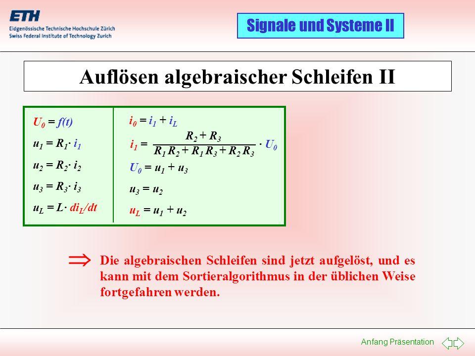 Anfang Präsentation Signale und Systeme II Auflösen algebraischer Schleifen II U 0 = f(t) u 1 = R 1 · i 1 u 2 = R 2 · i 2 u 3 = R 3 · i 3 u L = L· di
