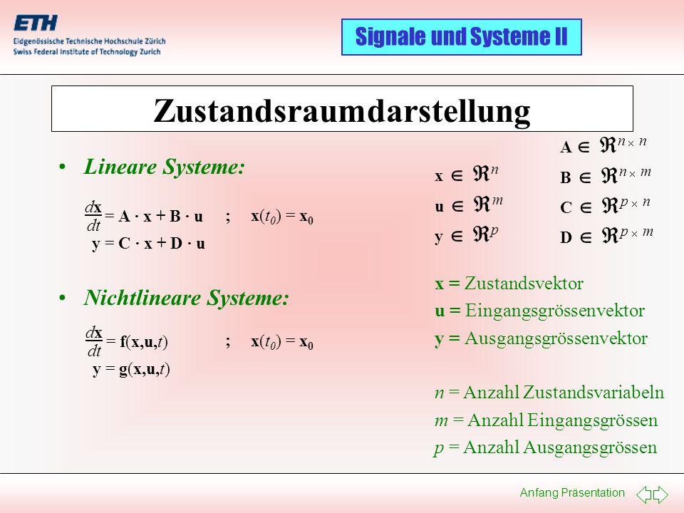 Anfang Präsentation Signale und Systeme II Zustandsraumdarstellung Lineare Systeme: Nichtlineare Systeme: dxdx dt = A · x + B · u y = C · x + D · u x(