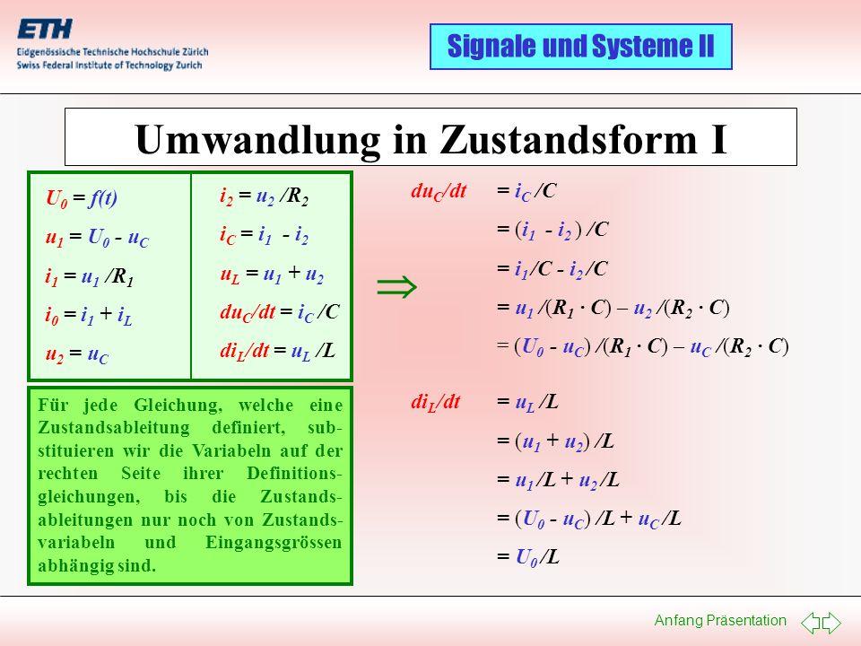 Anfang Präsentation Signale und Systeme II Umwandlung in Zustandsform I U 0 = f(t) u 1 = U 0 - u C i 1 = u 1 /R 1 i 0 = i 1 + i L u 2 = u C i 2 = u 2