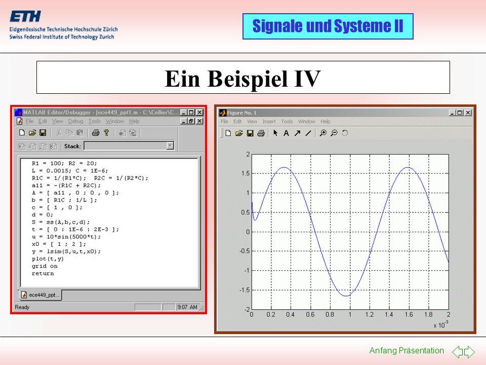 Anfang Präsentation Signale und Systeme II Ein Beispiel IV