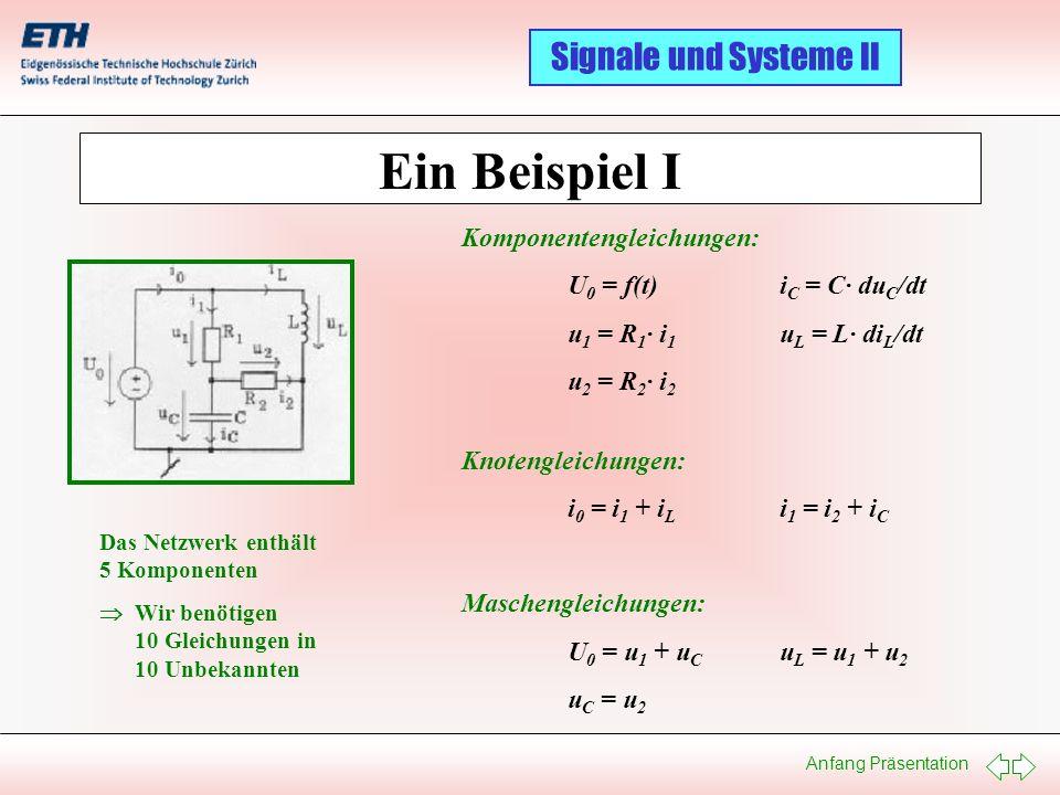 Anfang Präsentation Signale und Systeme II Zustandsraumdarstellung Lineare Systeme: Nichtlineare Systeme: dxdx dt = A · x + B · u y = C · x + D · u x(t 0 ) = x 0 ; dxdx dt = f(x,u,t) y = g(x,u,t) ; x(t 0 ) = x 0 x n u m y p x = Zustandsvektor u = Eingangsgrössenvektor y = Ausgangsgrössenvektor n = Anzahl Zustandsvariabeln m = Anzahl Eingangsgrössen p = Anzahl Ausgangsgrössen A n n B n m C p n D p m