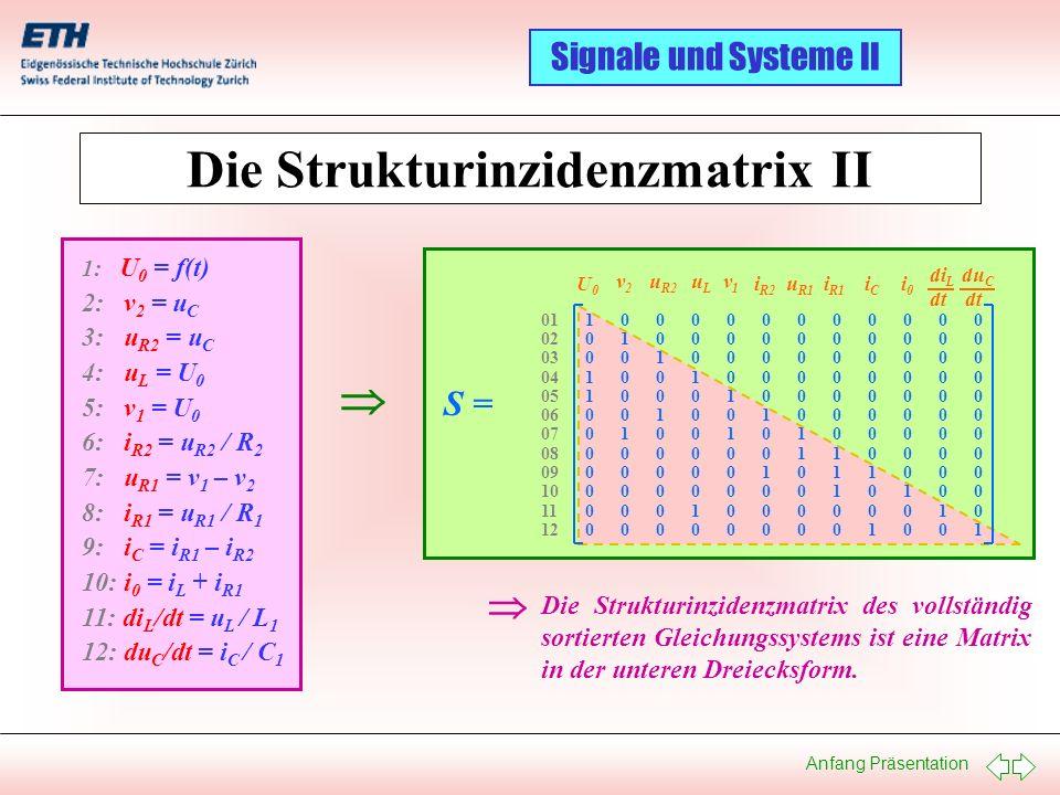 Anfang Präsentation Signale und Systeme II Die Strukturinzidenzmatrix des vollständig sortierten Gleichungssystems ist eine Matrix in der unteren Drei