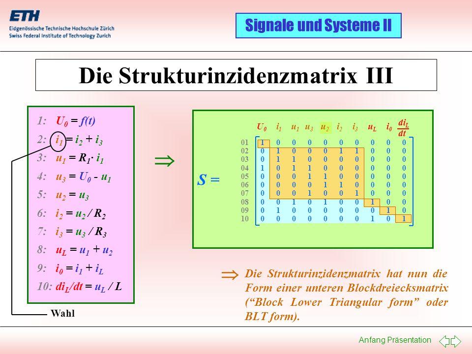 Anfang Präsentation Signale und Systeme II Die Strukturinzidenzmatrix hat nun die Form einer unteren Blockdreiecksmatrix (Block Lower Triangular form