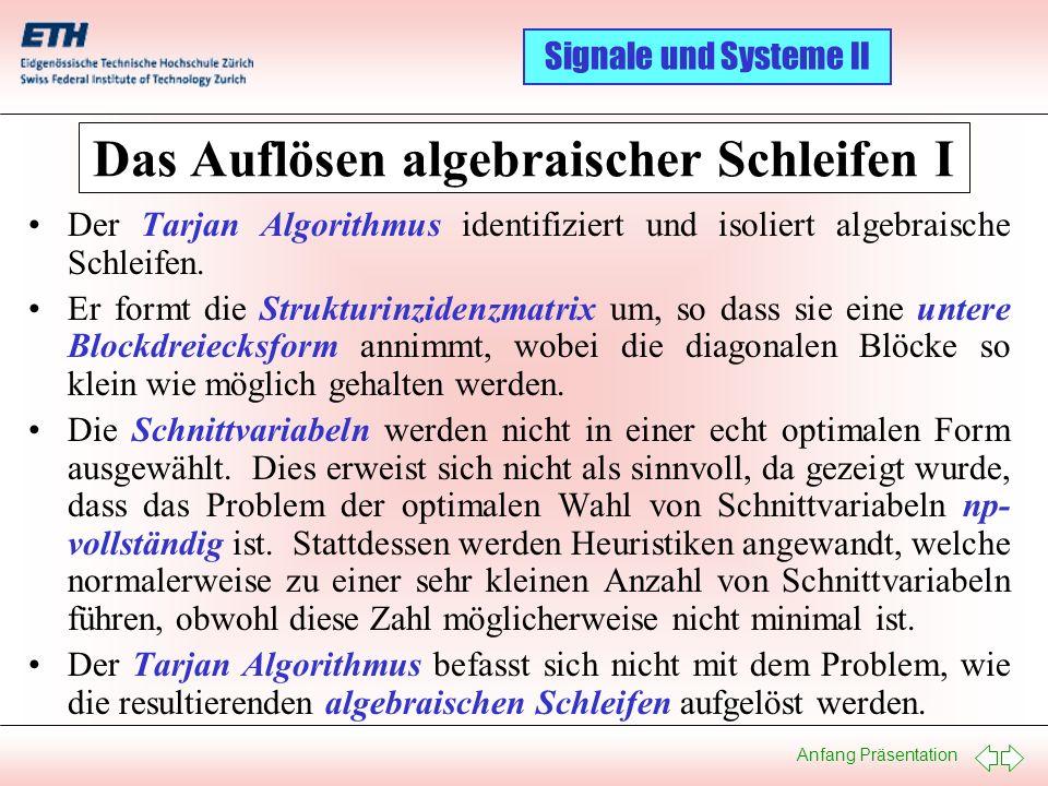 Anfang Präsentation Signale und Systeme II Das Auflösen algebraischer Schleifen I Der Tarjan Algorithmus identifiziert und isoliert algebraische Schle
