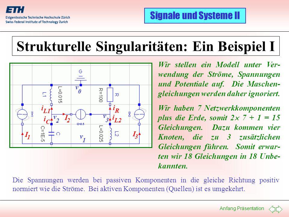 Anfang Präsentation Signale und Systeme II Strukturelle Singularitäten: Ein Beispiel I I 1 I 2 I 3 i C i L1 i L2 i R v 1 v 2 v 3 v 0 Wir stellen ein M