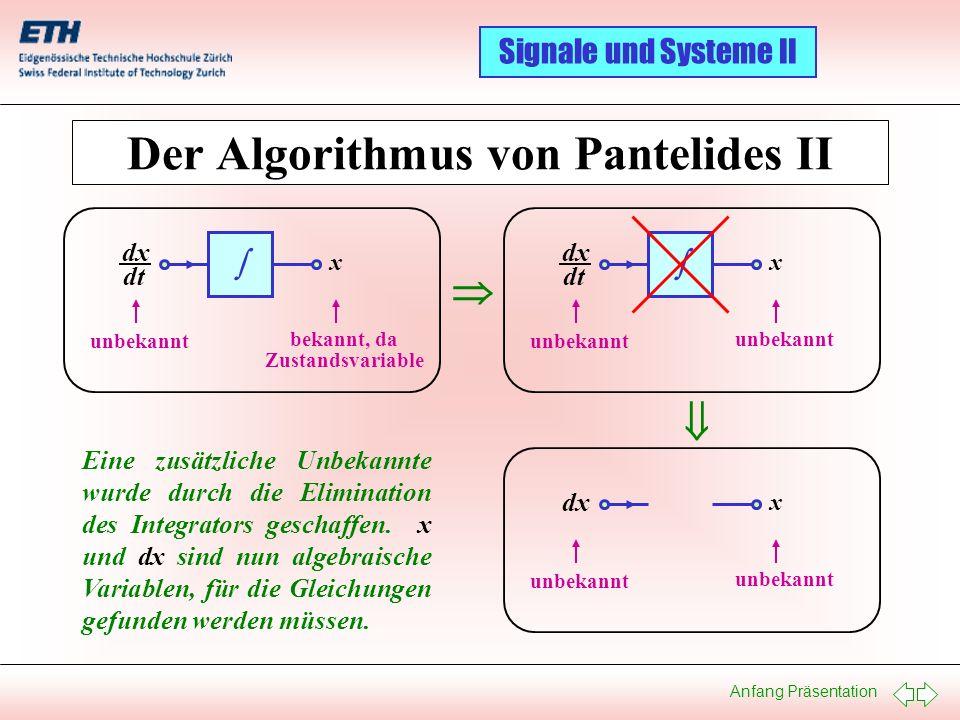 Anfang Präsentation Signale und Systeme II Der Algorithmus von Pantelides II dx dt x unbekannt bekannt, da Zustandsvariable dx dt x unbekannt dx x unb