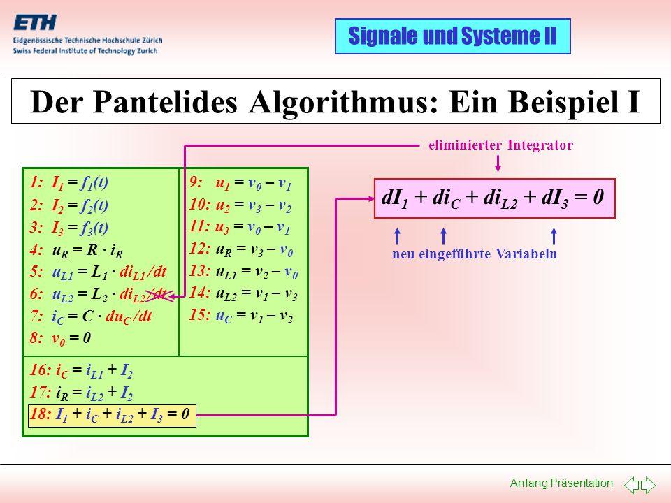 Anfang Präsentation Signale und Systeme II Der Pantelides Algorithmus: Ein Beispiel I 1: I 1 = f 1 (t) 2: I 2 = f 2 (t) 3: I 3 = f 3 (t) 4: u R = R ·