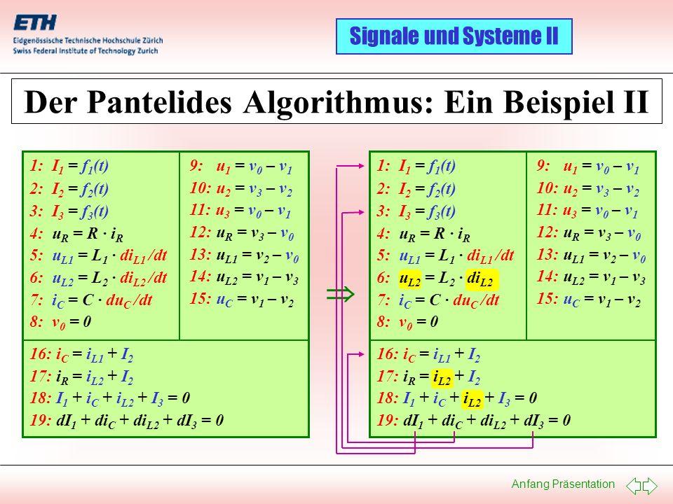 Anfang Präsentation Signale und Systeme II Der Pantelides Algorithmus: Ein Beispiel II 1: I 1 = f 1 (t) 2: I 2 = f 2 (t) 3: I 3 = f 3 (t) 4: u R = R ·