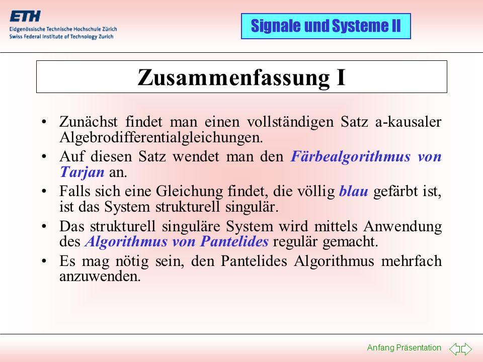 Anfang Präsentation Signale und Systeme II Zusammenfassung I Zunächst findet man einen vollständigen Satz a-kausaler Algebrodifferentialgleichungen. A