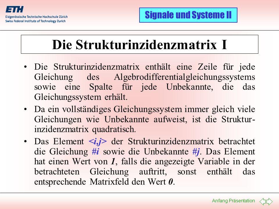 Anfang Präsentation Signale und Systeme II Die Strukturinzidenzmatrix: Ein Beispiel 1: U 0 = f(t) 2: i 0 = i L + i R1 3: u L = U 0 4: di L /dt = u L / L 1 5: v 1 = U 0 6: u R1 = v 1 – v 2 7: i R1 = u R1 / R 1 8: v 2 = u C 9: i C = i R1 – i R2 10: du C /dt = i C / C 1 11: u R2 = u C 12: i R2 = u R2 / R 2 di L dt du C dt S = 01 02 03 04 05 06 07 08 09 10 11 12 101010000000101010000000 010000000000010000000000 001100000000001100000000 000100000000000100000000 000011000000000011000000 000001100000000001100000 010000101000010000101000 000001010000000001010000 000000001100000000001100 000000000100000000000100 000000000011000000000011 000000001001000000001001 U0U0 i0i0 uLuL v1v1 v2v2 iCiC u R1 i R1 i R2 u R2