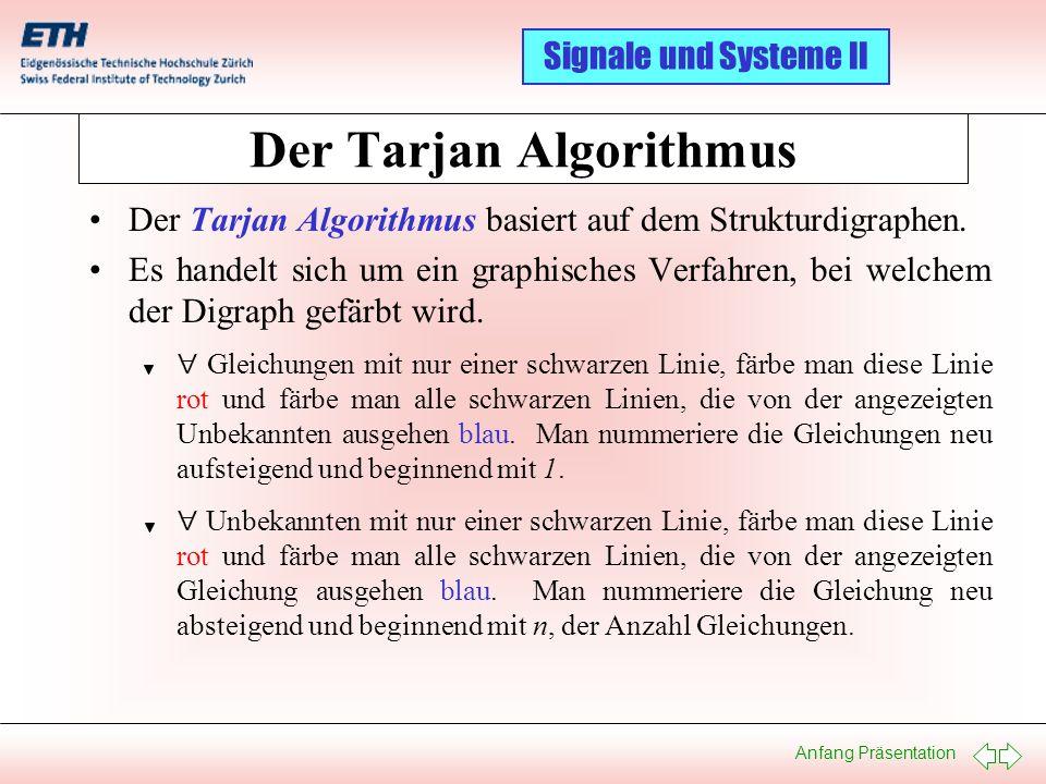 Anfang Präsentation Signale und Systeme II Der Tarjan Algorithmus: Ein Beispiel I 01 02 03 04 05 06 07 08 09 10 11 12 Gleichungen U0U0 i0 i0 uLuL di L /dt v1 v1 u R1 i R1 v2 v2 iC iC du C /dt u R2 i R2 Unbekannte 1: U 0 = f(t) 2: i 0 = i L + i R1 3: u L = U 0 4: di L /dt = u L / L 1 5: v 1 = U 0 6: u R1 = v 1 – v 2 7: i R1 = u R1 / R 1 8: v 2 = u C 9: i C = i R1 – i R2 10: du C /dt = i C / C 1 11: u R2 = u C 12: i R2 = u R2 / R 2 01 U 0 U 0 U 0 02 v 2 v 2 03 u R2 u 12 du /dt C i C 11 di /dt L u L 10 i 0 i R1