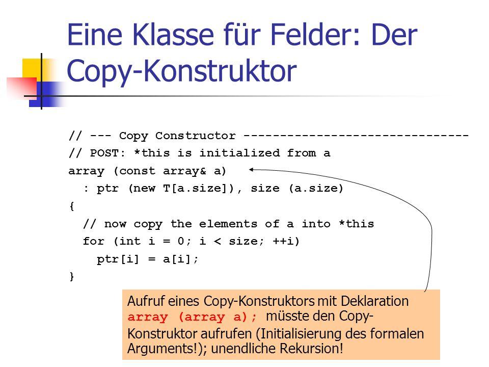 Eine Klasse für Felder: Der Copy-Konstruktor // --- Copy Constructor ------------------------------- // POST: *this is initialized from a array (const