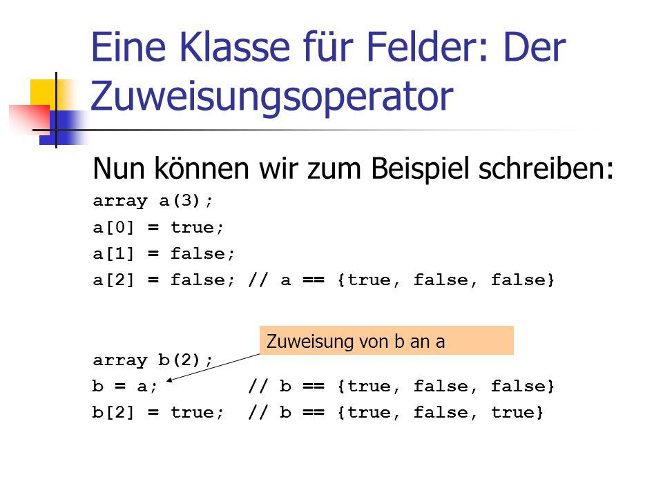 Eine Klasse für Felder: Der Zuweisungsoperator Nun können wir zum Beispiel schreiben: array a(3); a[0] = true; a[1] = false; a[2] = false; // a == {tr