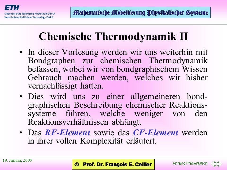 Anfang Präsentation 19. Januar, 2005 Chemische Thermodynamik II In dieser Vorlesung werden wir uns weiterhin mit Bondgraphen zur chemischen Thermodyna