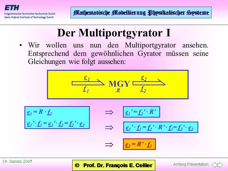 Anfang Präsentation 19. Januar, 2005 Der Multiportgyrator I Wir wollen uns nun den Multiportgyrator ansehen. Entsprechend dem gewöhnlichen Gyrator müs