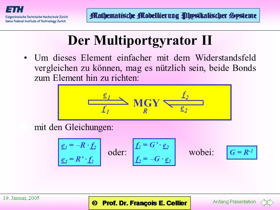 Anfang Präsentation 19. Januar, 2005 Der Multiportgyrator II Um dieses Element einfacher mit dem Widerstandsfeld vergleichen zu können, mag es nützlic