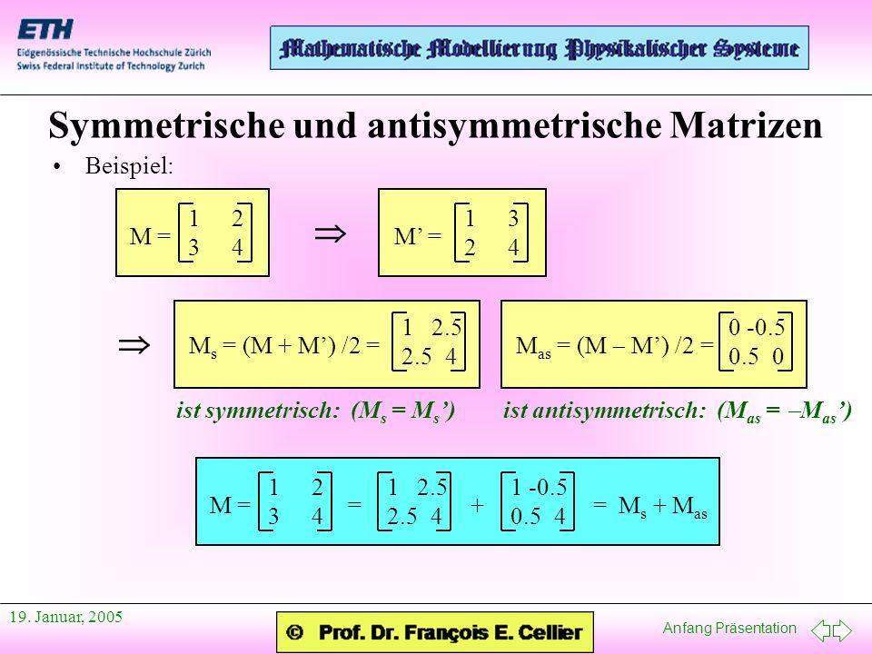 Anfang Präsentation 19. Januar, 2005 Symmetrische und antisymmetrische Matrizen Beispiel: 12341234 M = 13241324 M = 1 2.5 2.54 M s = (M + M) /2 = 0 -0