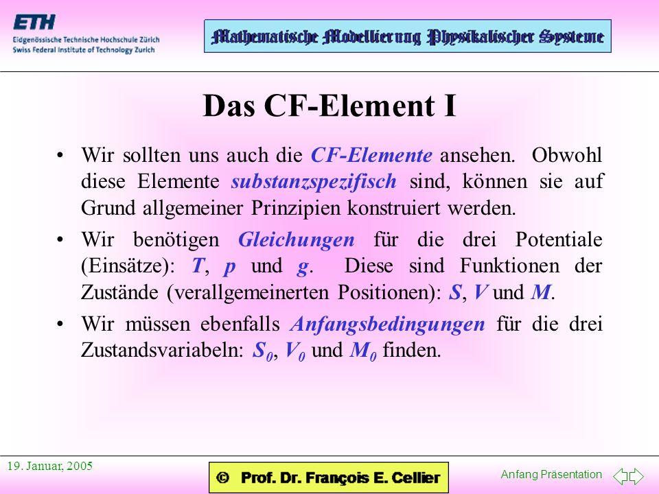Anfang Präsentation 19. Januar, 2005 Das CF-Element I Wir sollten uns auch die CF-Elemente ansehen. Obwohl diese Elemente substanzspezifisch sind, kön