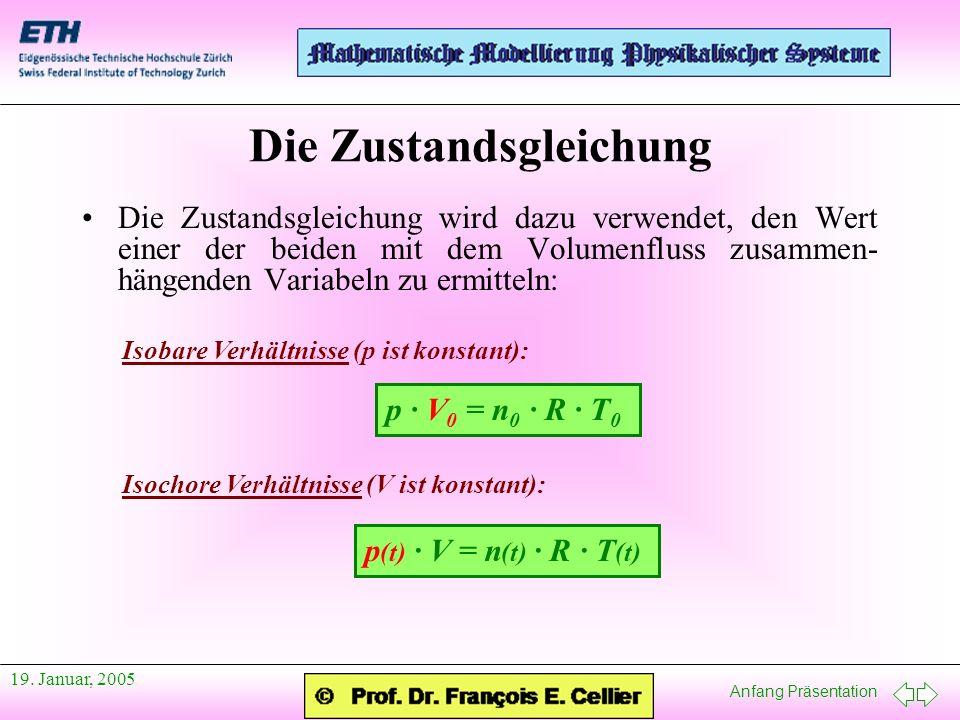 Anfang Präsentation 19. Januar, 2005 Die Zustandsgleichung Die Zustandsgleichung wird dazu verwendet, den Wert einer der beiden mit dem Volumenfluss z