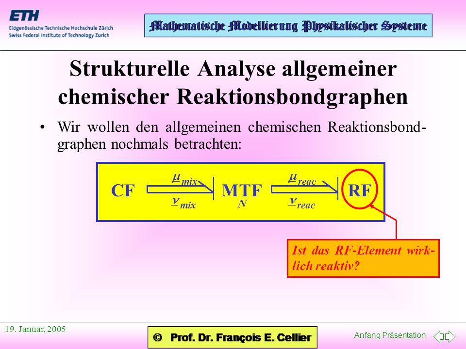 Anfang Präsentation 19. Januar, 2005 Wir wollen den allgemeinen chemischen Reaktionsbond- graphen nochmals betrachten: Strukturelle Analyse allgemeine