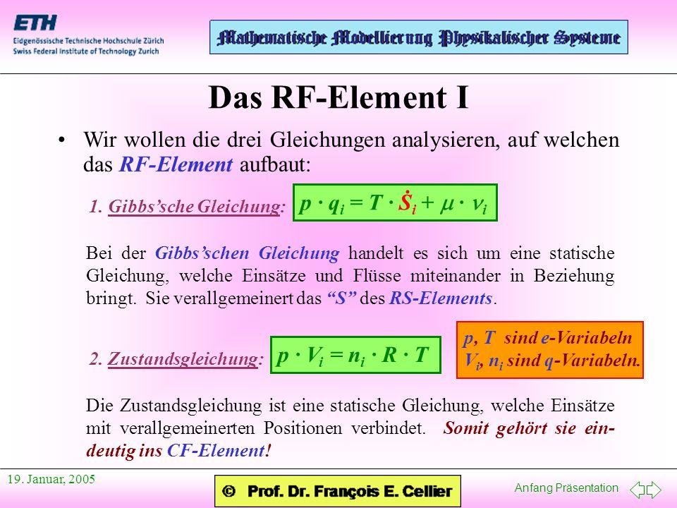 Anfang Präsentation 19. Januar, 2005 Wir wollen die drei Gleichungen analysieren, auf welchen das RF-Element aufbaut: Das RF-Element I 1. Gibbssche Gl