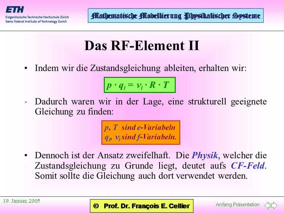 Anfang Präsentation 19. Januar, 2005 Indem wir die Zustandsgleichung ableiten, erhalten wir: Dadurch waren wir in der Lage, eine strukturell geeignete